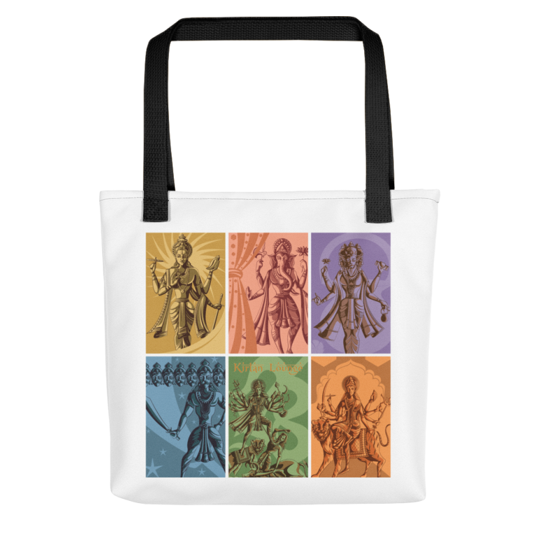 Tote Bag with Deities Print