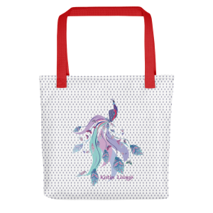 Tote bag with Peacock Print Red