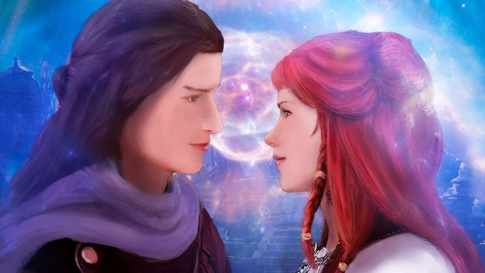 """The ruby. It was iridescent, glowing like the most brilliant prism. He felt himself drop into a trance. He could commune with Adi. This time, though, the space of the trance was not cloudy and indistinct, but instead perfectly clear. He could see Adi and her surroundings with the same clarity as if he were looking into one of the karmic bubbles from the Mazes of the Mind"""